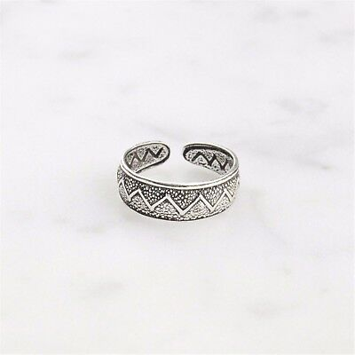 925 Sterling Silver Boho Style Textured Zig Zag Toe Ring - One Size Adjustable