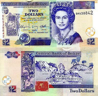 BELIZE 2 Dollars Banknote World Money Currency Bill p66d Note Queen Elizabeth $