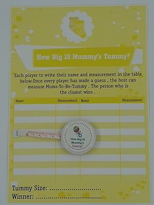 How Big Is Mummy's Tummy ? Baby Shower 24 Player Game Tape measure Baby Lemon
