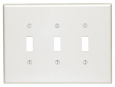 (10) *NEW* Toggle Switch 3-Gang Wall Plate Cover White Unbreakable Lexan