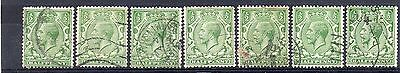 GB = 1913 G5 1/2d Green x 7. (Shades). SG 351/356. For Study or Shades. (C1a2)