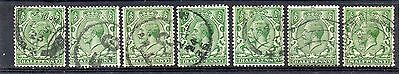 GB = 1913 G5 1/2d Green x 7. (Shades). SG 351/356. For Study or Shades. (C7a3)