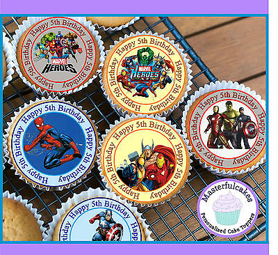 24 X Marvel Hero 5Th Birthday Edible Cupcake Toppers Wafer Paper,icing Or Precut