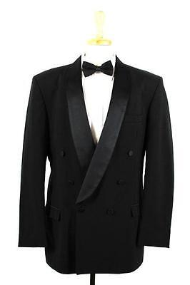 vintage black OSCAR DE LA RENTA tuxedo tux jacket double breasted shawl L 42 S