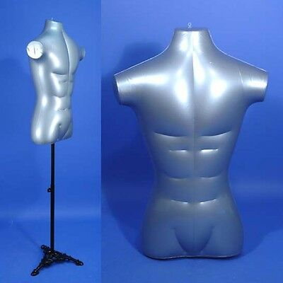 New HR-096M Silver Male Inflatable Torso Form Mannequin