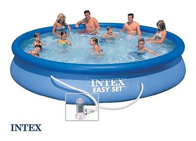 "INTEX 15ft x 33"" Easy Set Swimming Paddling Pool with filter pump#28158"