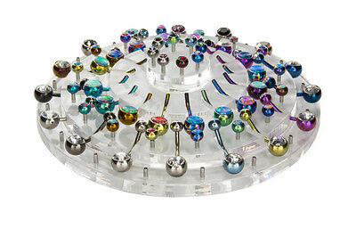 Empty 32 Piece Round Tiered Acrylic Display for Belly Button Rings