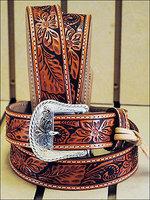 Tony Lama Floral Hand Tooled Western Leather Men's Belt - Tan