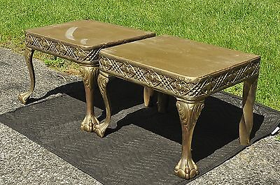 ANTIQUE BRASS FOOTSTOOLS or BENCHES MATCHED PAIR with BALL & CLAW FEET & TWIST !
