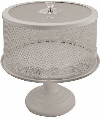 Shabby Chic Vintage White Mesh Lace Crystal Cake Stand Wedding Tea Party Decor