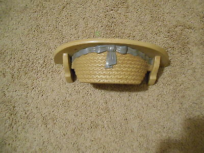 Wicker look hat shelf with blue ribbon Vintage Home Interiors  12 x 4 x 5""