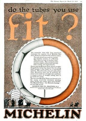 1919 MICHELIN TIRES Full Page 2-COLOR Ad. RED TUBES Fit Better Than Competitors