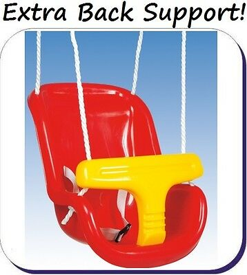 Back Supporting BABY SEAT with ADJUSTABLE ROPES & SAFETY HARNESS for Swing Set