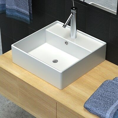 Bathroom White Square Above Counter Top Ceramic Basin Bowl Faucet Hole Vanity