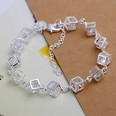 Fashion Women 925 Sterling Silver Plated Charm Box Crystal Chain Bracelet Bangle