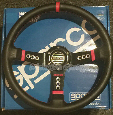 Sparco Steering Wheel Sports Racing 340mm Deep Dish w/Horn Uni Fit Leather Black