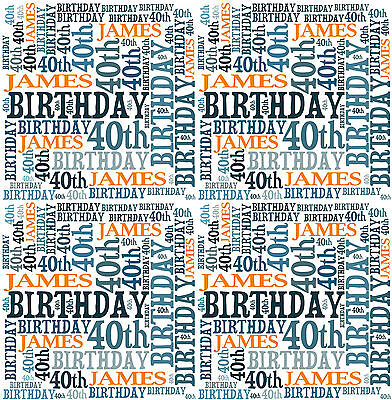 Personalised Wrapping Paper Birthday 18th 21st 40th Any age Word Art