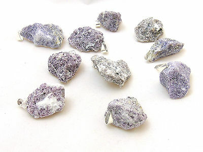 (1) Lepidolite Silver Plated Rough Gem Pendant Crystal Healing Chakra Balance
