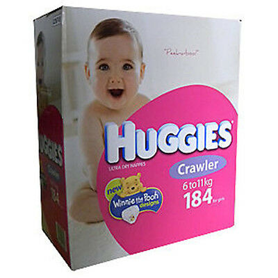 184Huggies Nappies Crawler 6-11kg Girls Disposable Nappy