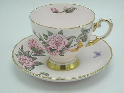 Tuscan English Bone China Cup and Saucer Camellia 485 H in Pink