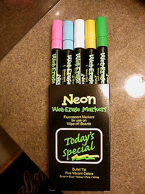 5 Pack Wet-Erase Fluorescent Marker For All Boards, Glass, Chalk