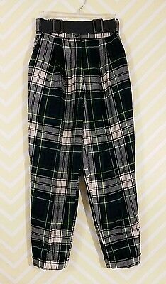 Vintage 1980s High Waisted Size 8 Scottish Plaid 100% Wool Pants Made in Italy