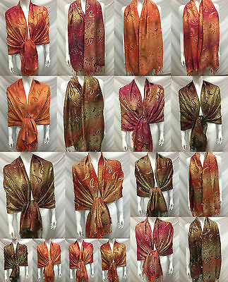 Wholesale 6Pcs $4.50 Each 2Ply Thick Metallic Pashmina Cashmere Wrap Scarf