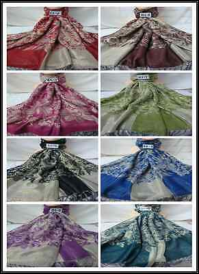 Wholesale 8Pcs $3.50 Each 2Ply Thick Metallic B3 Reservible Pashmina Wrap Scarf