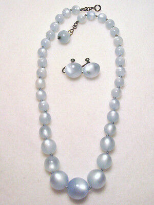 Vintage Light POWDER BLUE Necklace Earrings Set MOONGLOW PLASTIC Graduated Beads