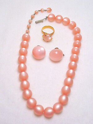 Vintage PINK Plastic Necklace Earrings RING Set MOONGLOW Pretty & CLEAN