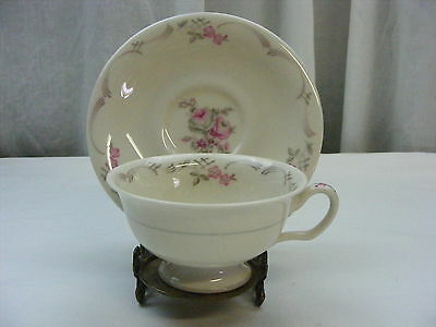 Vintage Cup & Saucer Castleton China Belrose Made in USA Pink and Gray Rose