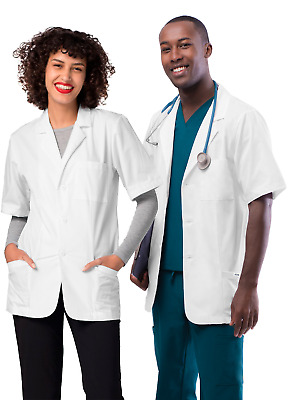 Adar Men Women Doctor Nurse Uniforms Lapel Collar Short Sleeve Consultation Coat