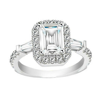 Sterling Silver Cubic Zirconia Emerald-cut Halo Ring