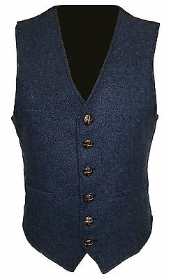 Navy Blue Mens Wool Tweed Slim Fitted Vest Waistcoat S M L XL 2XL 3XL