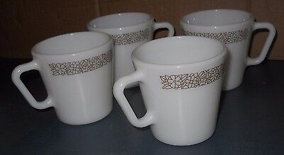 Lot Of 4 Woodland Brown Pyrex Milk Glass Coffee Mugs Cups D Handle 1410