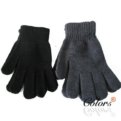 Color5 Unisex Men Women Adult Winter Warm Knitted Gloves Plain Colour Large