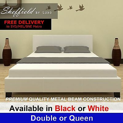 New Modern Queen Double Size PU Leather Bedroom Furniture White Black Bed Frame