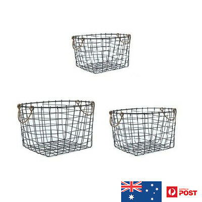 Set Of 3 Wire Basket/copper Handle Storage Cleaning Container Laundry