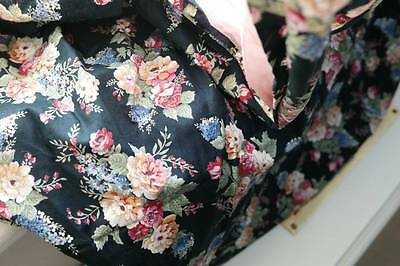 """Stunning French c1950s fabric shabby chic roses 50"""" x 50"""" for projects navy"""