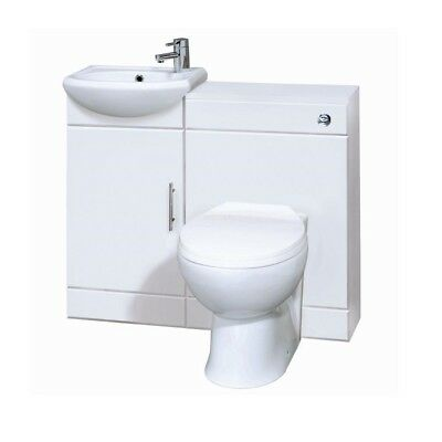 900mm High Gloss White Bathroom Vanity Cabinet & Back to Wall BTW Toilet Unit