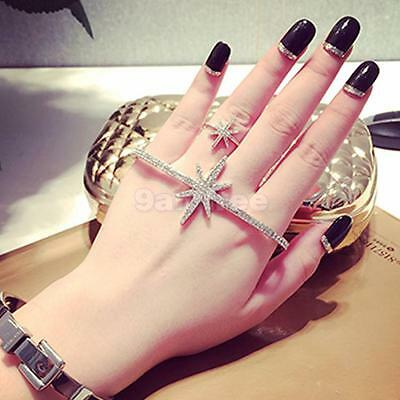Hand Palm Bracelet Silver Crystal Slave Link Finger Ring Star Body Jewelry