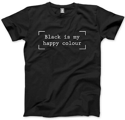 Black is my Happy Colour - Black Goth Hipster Moody T-Shirt Tee