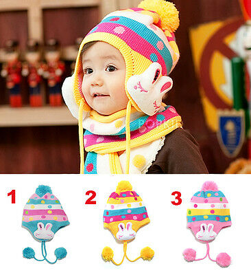 Baby boy girl winter wool warm bunny woolen bobble hat headwear bonnet toddler