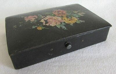 BOITE A PLUMES en PAPIER MÂCHE NAPOLEON III ANTIQUE FRENCH PENCIL CASE BOX