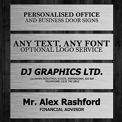 Personalised Metal Office Door Sign 200mm x 50mm Any Text, Name or Business Logo