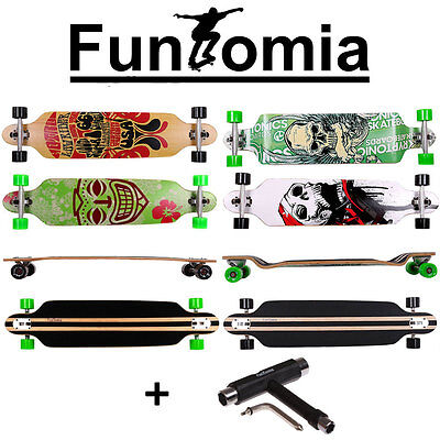 Longboard FunTomia® DropDown Downhill Freerider Cruiser Skateboard + T-Tool
