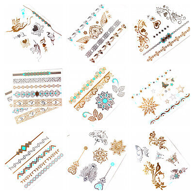 9 x GOLD Tattoo Flash Tattoos Silber Türkis temporary Tattoo SALE Z-Set 1-9