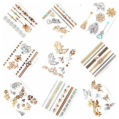 9 x GOLD Tattoo Flash Tattoos Silber Türkis temporary Tattoo SALE Z-Set 8-16