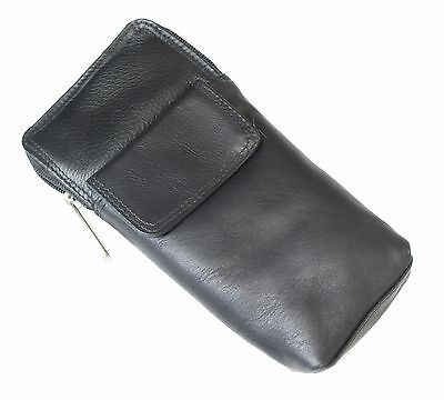 High Quality Soft Leather Spectacle / Glasses Case Holder - ALL BLACK