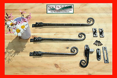 Black Antique Iron curly monkey tail window casement stays handles fasteners.